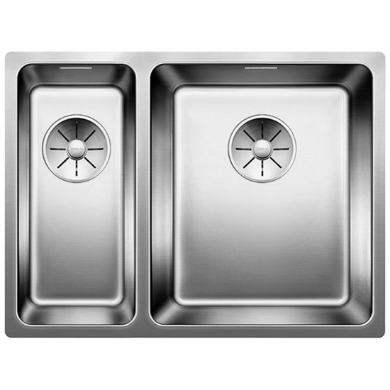 Picture of BLANCO Andano 340/180-IF stainless steel sink InFino silk gloss with pull knob 522974