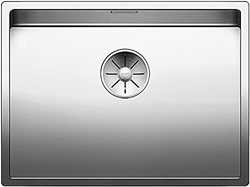 Picture of Blanco Claron 550-IF, sink without battery bank, kitchen sink, for normal and flush installation, InFino spout, stainless steel satin gloss; 521578
