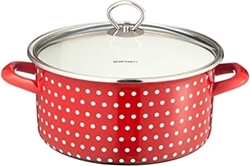 Picture of Original Steinbach Coletto Cooking Pot with Lid Red with White Spots Suitable for All Hobs and Induction Enamelled Carbon Steel Inside Scale, 16 cm
