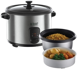Picture of Russell Hobbs 19750-56 Cook Cooker Cook Cooker, holding function, 1.8l, incl. Steamer insert, rice spoon, measuring cup, 700 Watt, stainless steel / black