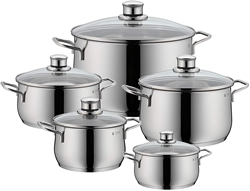 Picture of WMF Pot-Set 5-piece Casserole Casserole Casserole Vegetable Casserole Diadem Plus Pouring Bowl Glass lid Cromargan stainless steel polished suitable for induction dishwasher-safe