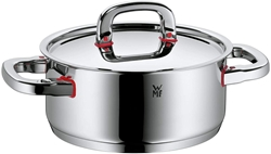 Picture of WMF Premium One saucepan, 20 cm, metal lid with steam opening, roasting pot 2,5l, Cromargan polished stainless steel, induction, cold handles, inside scale