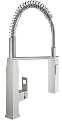 Picture of Grohe Eurocube kitchen faucet 31395DC0 supersteel, C-spout, with professional shower head