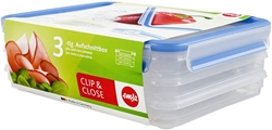 """Picture of Emsa Healthy Freshness (""""Gesunde Frische"""") 508556 Clip & Close Cold-Cuts Food Container Box 3 x 1 L"""