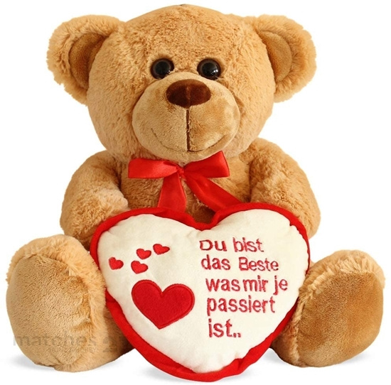 Picture of Matches21 Teddy Bear Teddy With Heart, Light Brown/beige 35 Cm