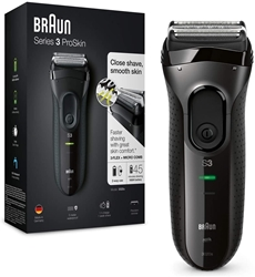 Picture of Braun Series 3 ProSkin 3020s electric shaver, rechargeable shaver men, black