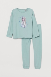 Picture of H&M Jersey pajamas, Turquoise / ice queen