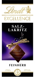Picture of Lindt EXCELLENCE bar, fine bitter chocolate refined with salt and liquorice, 1-pack (1 x 100 g)