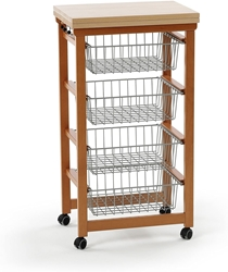 Picture of Arredamenti Italia 518 GASTONCINO Kitchen Trolley Beech Wood Cherry 48 x 88 x 34 cm