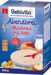 Picture of Bebivita Milk porridge evening porridge rice pudding with apple from the 5th month, 500 g