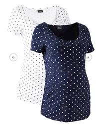 תמונה של חולצת הריון Bonprix, דו מארז, לבן וכחול כהה, עשויה מכותנה אורגנית