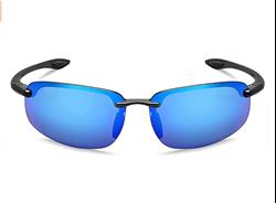 Picture of MAXJULI Sports Sunglasses Men Women Rimless Tr90 for Running Fishing Baseball Driving MJ8001, Color Name: blue
