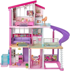 Изображение Barbie Dreamhouse Adventures with 3 Floors, 8 Rooms, Pool with Slide and Accessories, Approx. 116 cm High with Lights and Sounds, Toys for Ages 3 Years and Over
