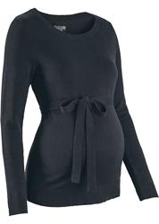 תמונה של סוודר לידה עשוי 100% כותנה עם עניבה, שחור  Bonprix